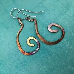 Hammer-forged copper and sterling earrings
